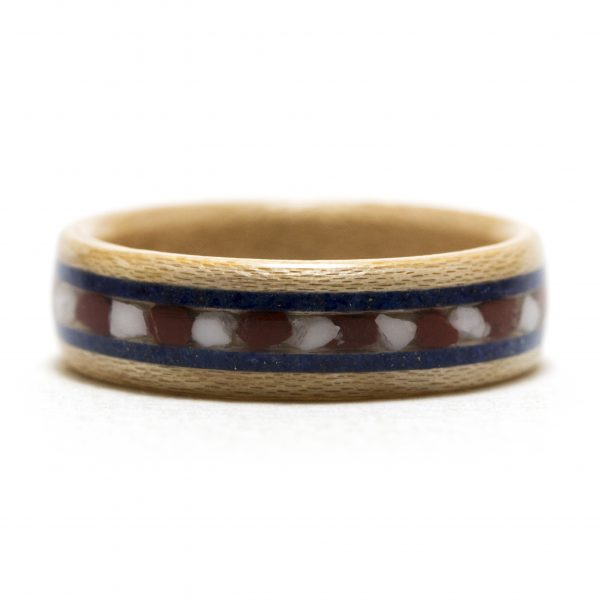 Maple wooden ring with red jasper, howlite, and lapis lazuli inlay