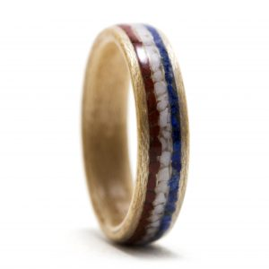 Maple Wood Ring With Red Jasper, Howlite, And Lapis Lazuli Inlay – USA v2 – Size 9