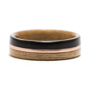 Cherry And Ebony Wood Ring Lined With Cherry And Copper Inlay – Size 9