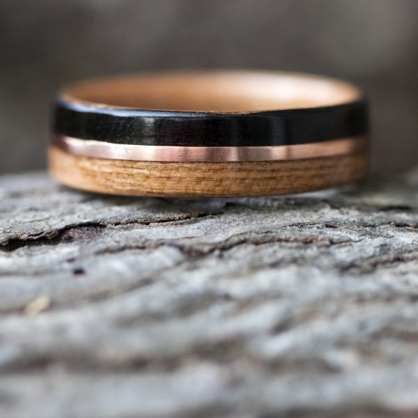 Cherry and ebony wood ring inner lined with cherry and copper inlay
