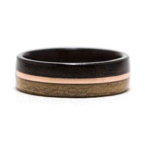 Ebony And Cherry Wood Ring Lined With Ebony And Copper Inlay