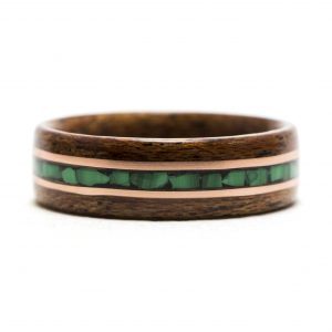 Mahogany Wood Ring With Malachite And Copper Inlay – Size 9