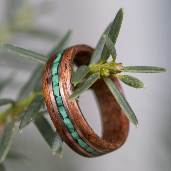 Mahogany wood ring with malachite and copper inlay