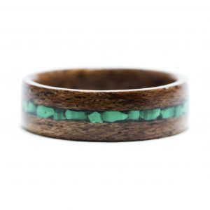 Mahogany Wood Ring With Malachite Inlay
