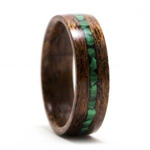 Mahogany Wood Ring With Malachite Inlay