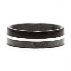Maple Birdseye Dyed Gray And Ebony Wood Ring Lined With Gray Maple And Silver Inlay