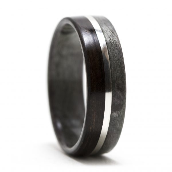 Gray maple birdseye and ebony wood ring inner lined with gray maple and silver inlay