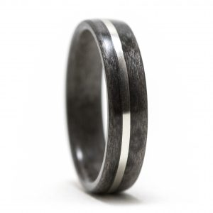 Maple Birdseye Dyed Gray Wood Ring With Silver Inlay – Size 9