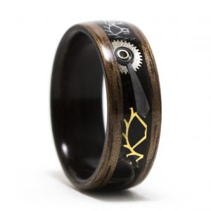 Walnut Wood Ring Lined With Ebony Inlaid With Watch Parts – Steampunk