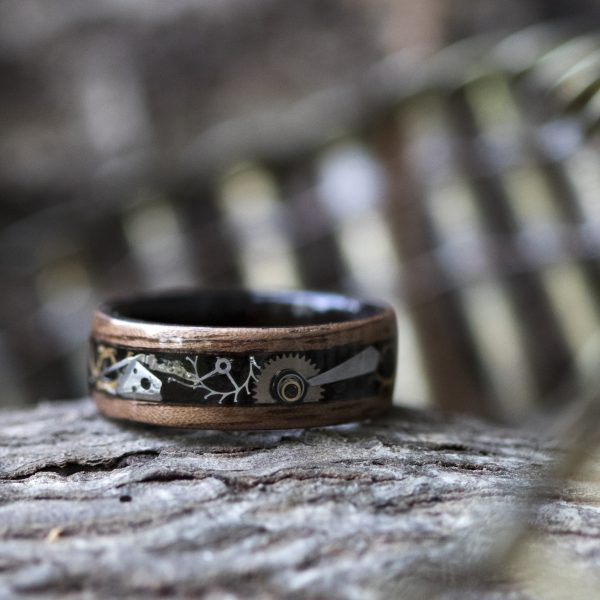 Ring with watch pieces - steampunk