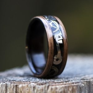 Wood ring using watch parts