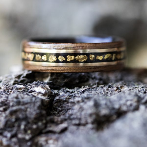 Walnut wood ring lined ebony with gold nuggets and gold filled wire inlay