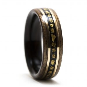 Walnut Wood Ring Lined With Ebony Inlaid With Gold Nuggets And Gold Filled Wire