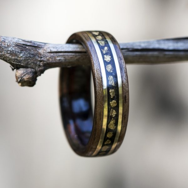 Walnut wooden ring lined ebony inlaid with gold nuggets and gold filled wire