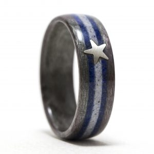Dallas Cowboys Ring – Gray Birdseye Maple Inlaid With Lapis Lazuli, Howlite, And Silver Star