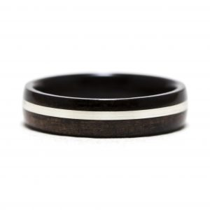 Ebony Wood Ring With Silver Inlay