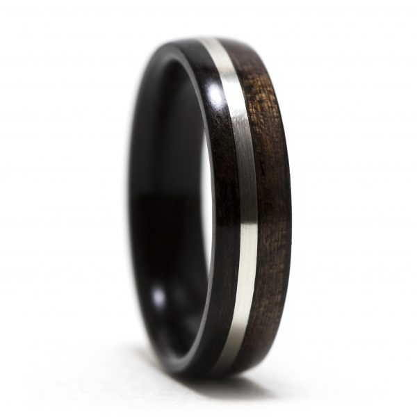 Ebony wood ring inlaid with silver