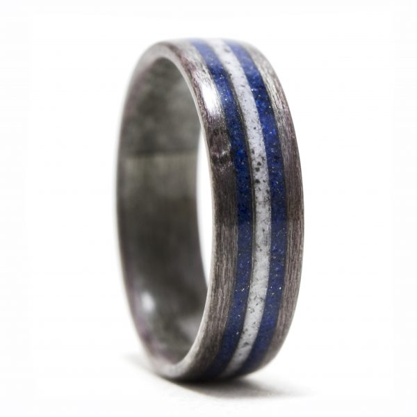 Gray birdseye maple wood ring with lapis lazuli and howlite inlay