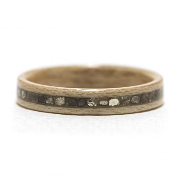 Maple wooden ring inlaid with silver glass