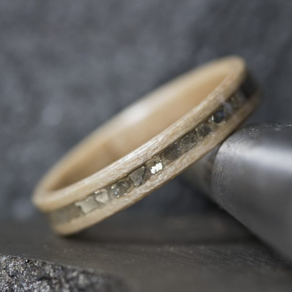 Maple wood ring with silver glass inlay