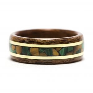Mahogany Wood Ring With Malachite, Tiger Eye, And Yellow Brass Inlay