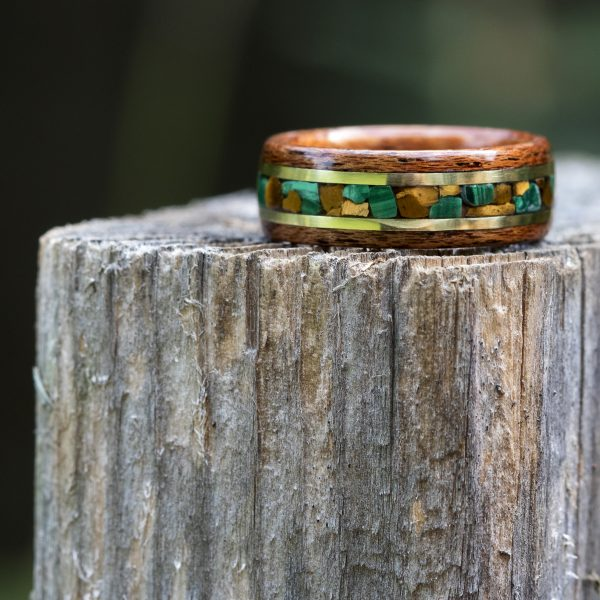 Mahogany wood ring with malachite, tigers eye, and yellow brass inlay