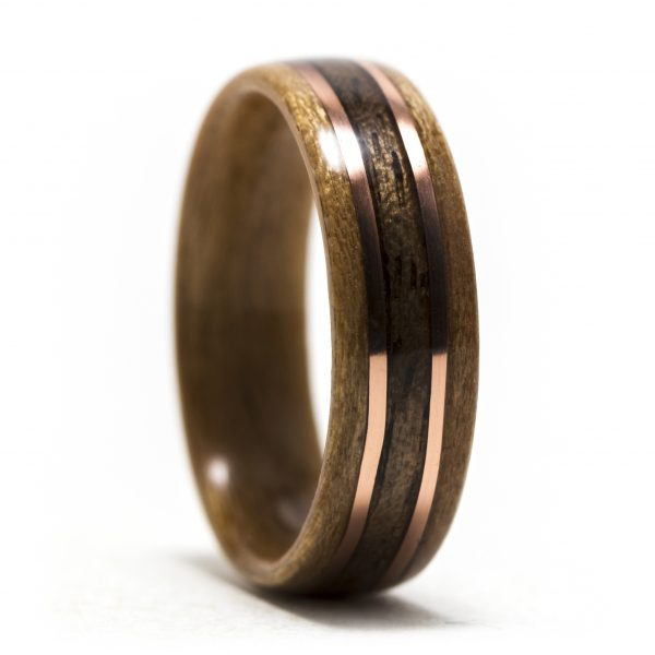 Cherry wood ring inlaid with walnut and copper