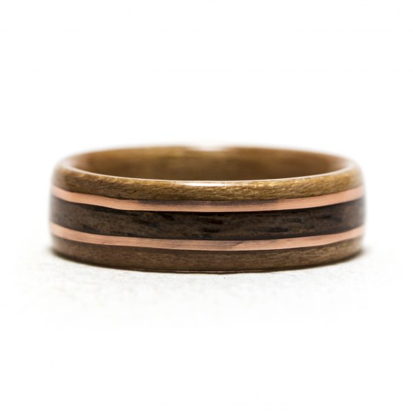 Cherry bentwood ring with walnut and copper inlay