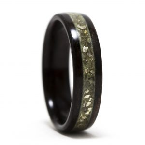 Ebony Wood Ring With Gold Glass And Green Glow Powder Inlay