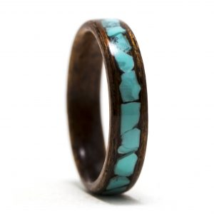 Mahogany Wood Ring With Turquoise Inlay – Size 7