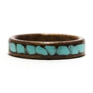 Mahogany Wood Ring Inlaid With Turquoise