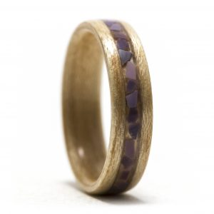 Maple Wood Ring With Purple Clam Shell Inlay – Size 6