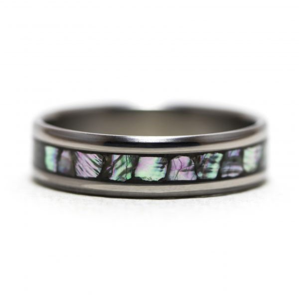 Titanium Ring With Abalone Inlay
