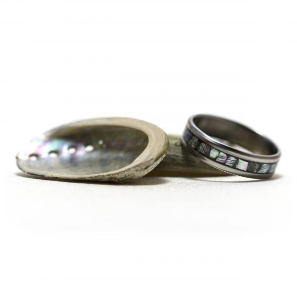 Titanium Ring Inlaid With Abalone
