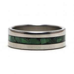 Titanium Ring With Malachite Inlay – Size 9