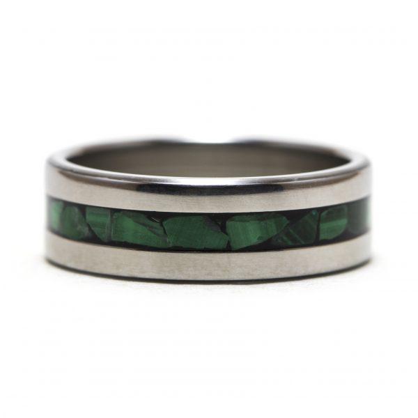 Titanium Ring With Malachite Stone Inlay