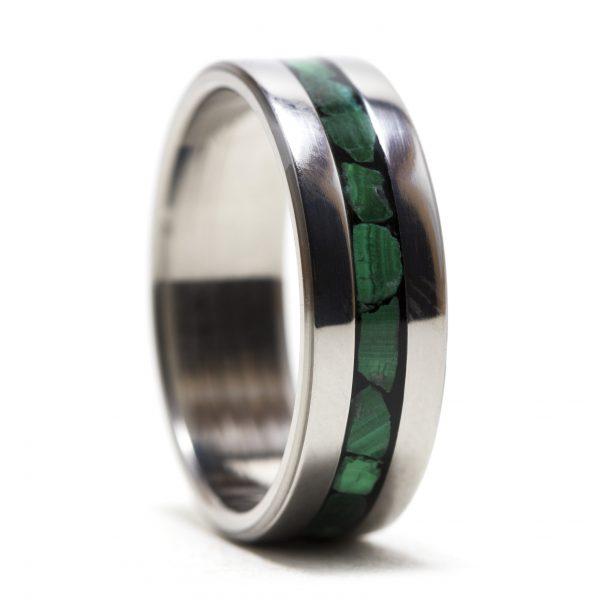 Titanium Ring Inlaid With Malachite Stone