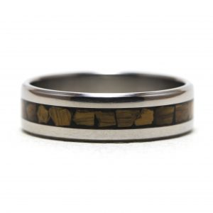 Titanium Ring With Tiger Eye Inlay