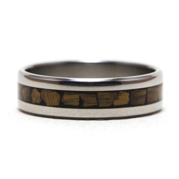 Titanium Ring With Tiger Eye Stone Inlay