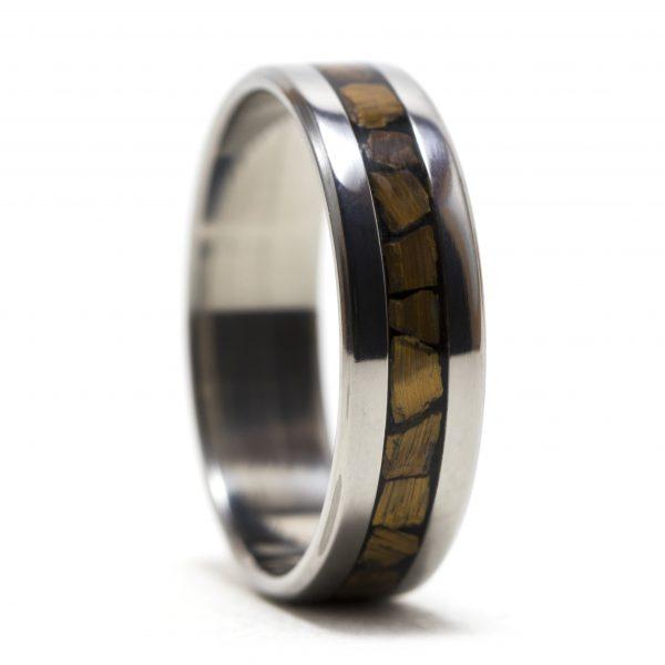 Titanium Ring Inlaid With Tiger Eye Stone