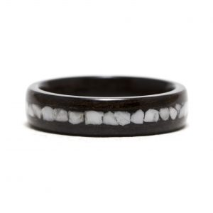 Ebony Wood Ring With Howlite Stone Inlay – Size 7