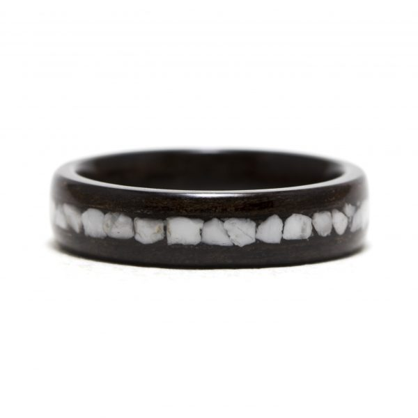 Ebony Wooden Ring Inlaid With Howlite Stone