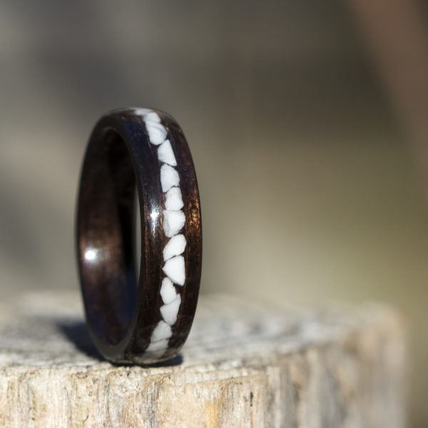 Ebony Wood Ring With Howlite Inlay