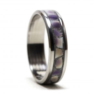 Titanium Ring With Purple Clam Shell And Sand Inlay