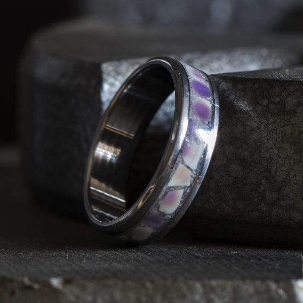 Titanium Ring Inlaid With Purple Clam Shell And Sand