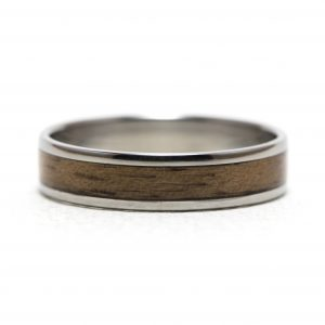 Titanium Ring With Walnut Wood Inlay