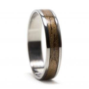 Titanium Ring With Walnut Wood Inlay – Size 9.5